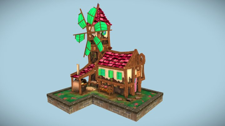 Stylised Bakery - Village House 3D Model