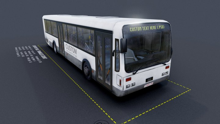 Complete Low Poly Bus - Store 3D Model