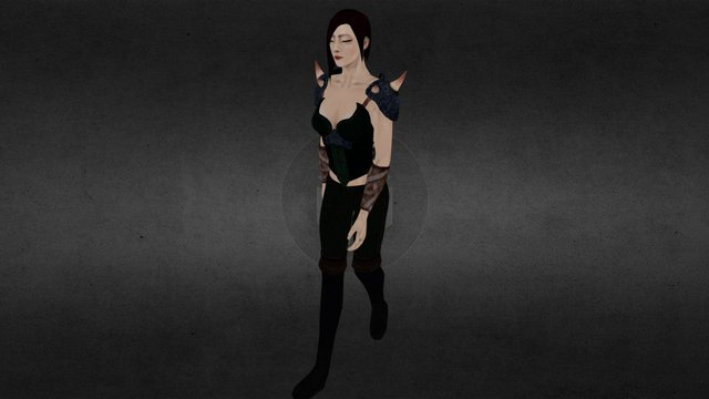 Chinese female fighter_Walk Loop 3D Model