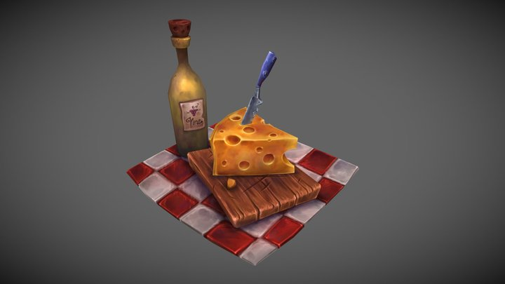 Cheese and Wine 3D Model