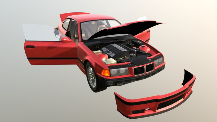 Real Car 7 Separated Parts 3D Model