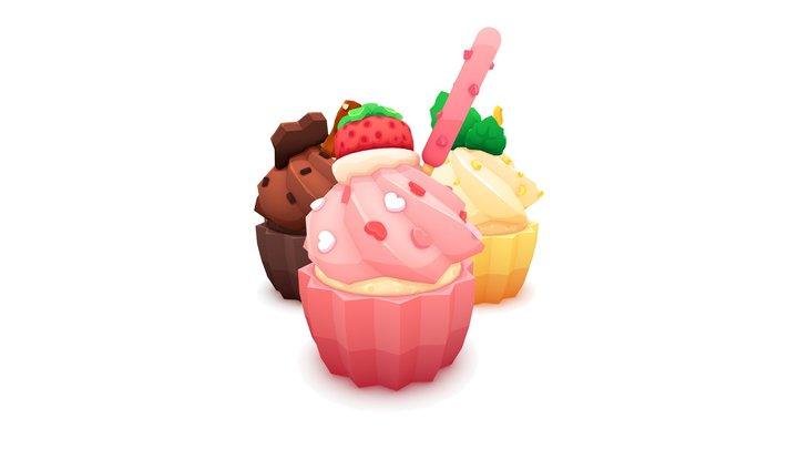 Cupcake Trio 3D Model