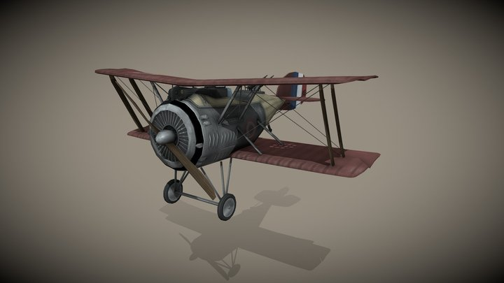 WWI - Hanriot HD.3 French Fighter 3D Model