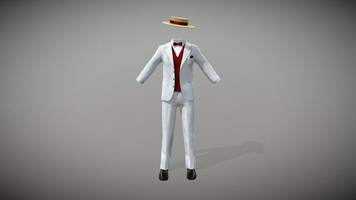 Men's Striped Suit Waist Coat Shoes Hat 3D Model