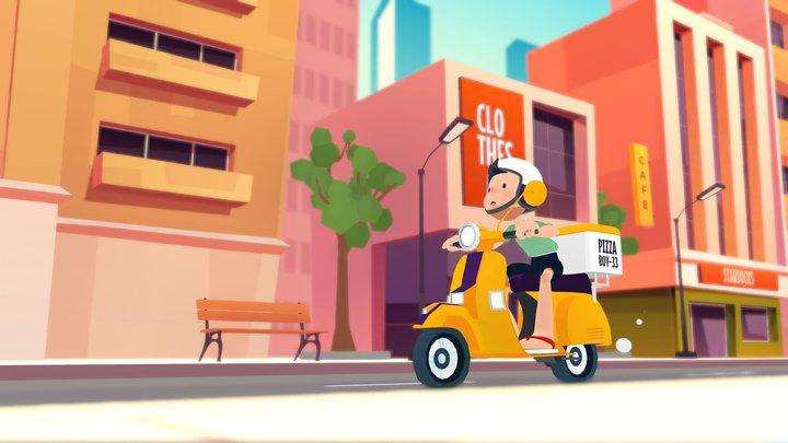 🍕🚴 Pizza Delivery Boy city  building motorbike 3D Model