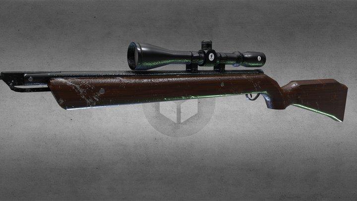 .22 Cal Pellet Rifle 3D Model