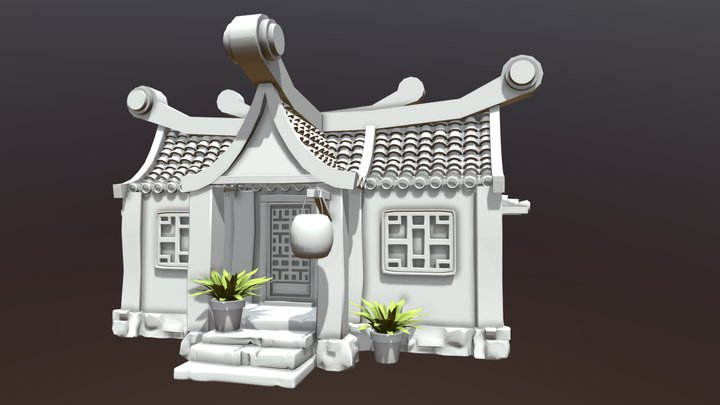 Fantasy house - sketch/blocking of a building 3D Model