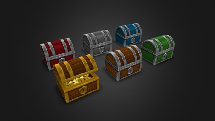 Low Poly Treasure Chest Set 3D Model