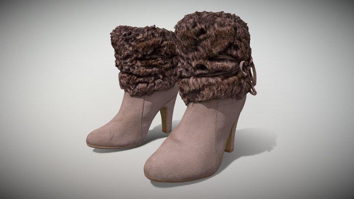 Fur Trim Heel Boots - Photoscanned PBR 3D Model