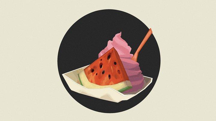 Tasty Meals - Melon Ice Cream 3D Model