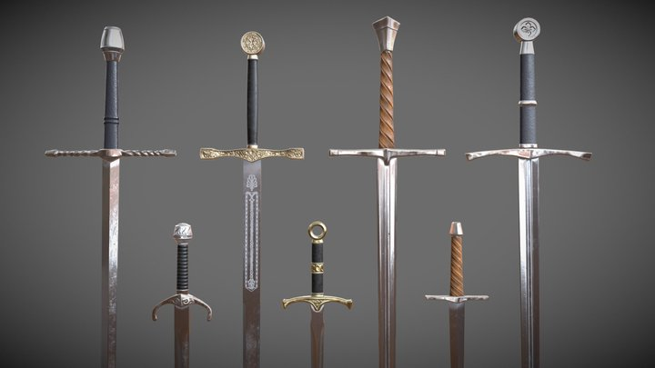 HQ medieval Swords and Daggers 3D Model