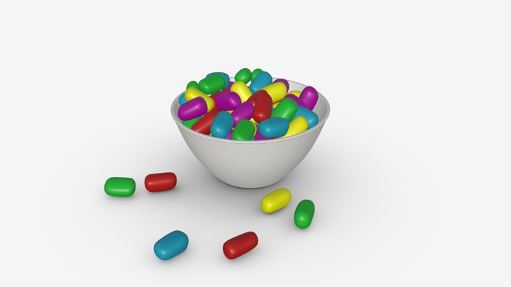 Candies in glass bowl 3D Model