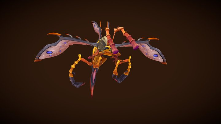 Stylized Fantasy Forest Wasp 3D Model