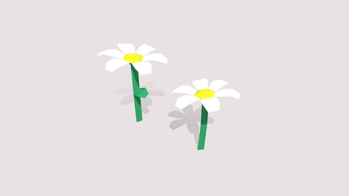 Low Poly Flowers 3D Model
