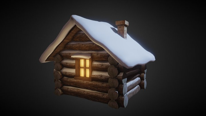 Snowy Wooden Hut 3D Model