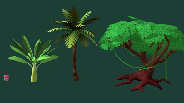 Tropical environment objects 3D Model
