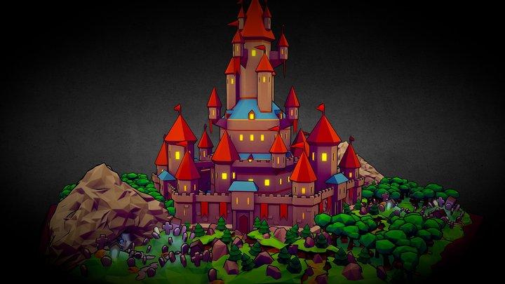 Stylized Castle and Landscape 3D Model