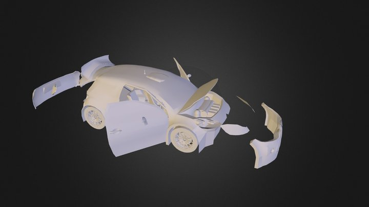 Citroen DS3 WRC 2000 Open Clay 3D Model