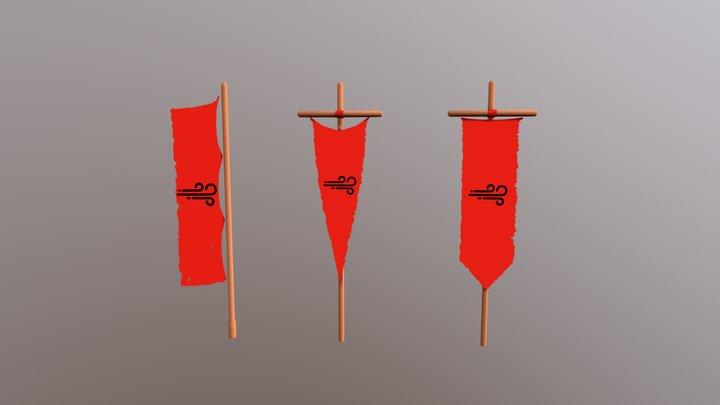 Vertical Flags 3D Model