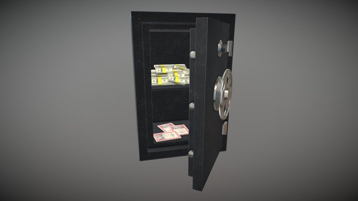 Safe - Safety vault with money and stock papers 3D Model