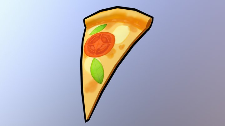 Hand painted low poly pizza model. 3D Model