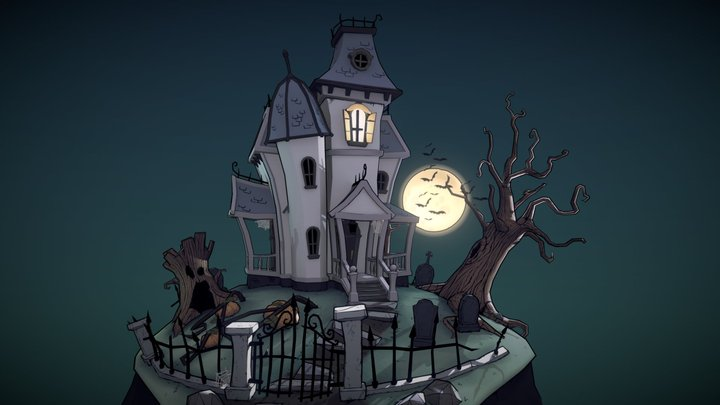 Stylized Halloween Mansion 3D Model