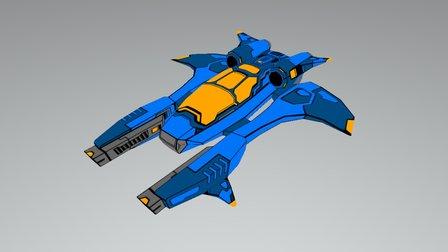 Blue Space Ship 3D Model