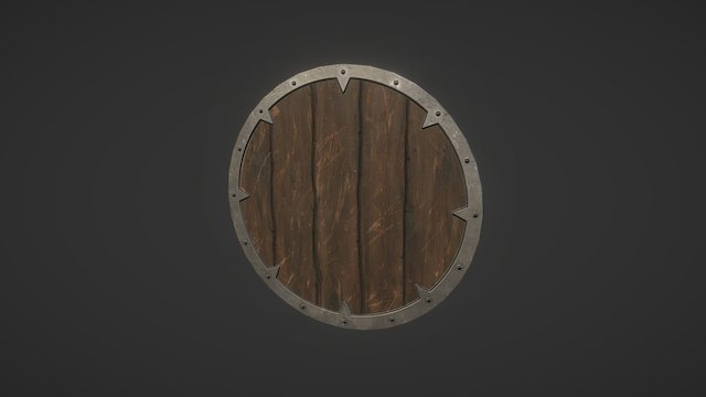 Wooden Round Shield 3D Model