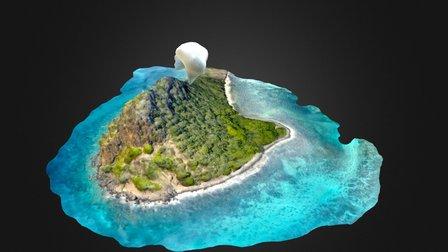 Frigate Island Simplified Mesh Color Enhanced 3D Model