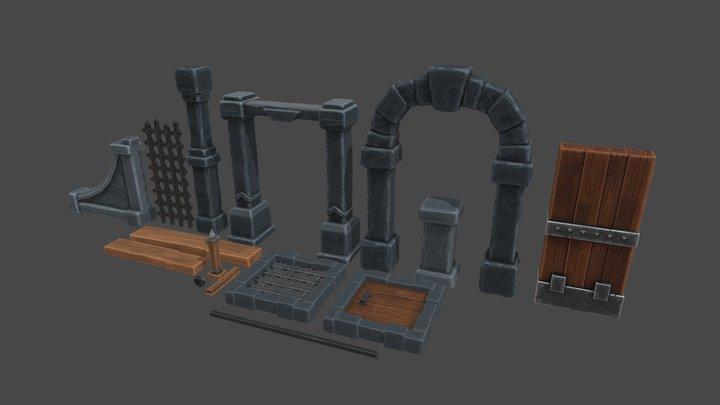 Dungeon Prop Set 1 3D Model