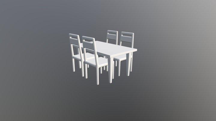 Pöytä ja tuolit 3D Model