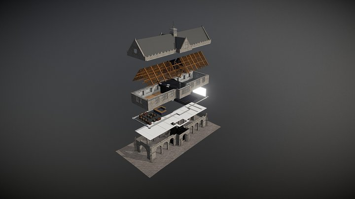 Animated 3D building - exploded view 3D Model