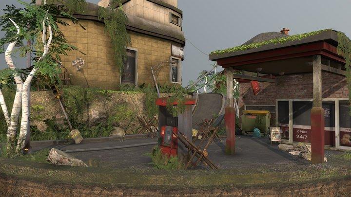 Post-Apocalyptic City Scene 3D Model