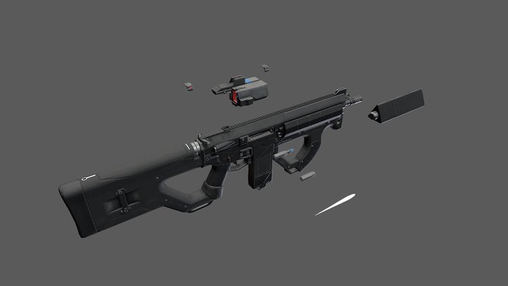 R2 Assault Rifle 3D Model