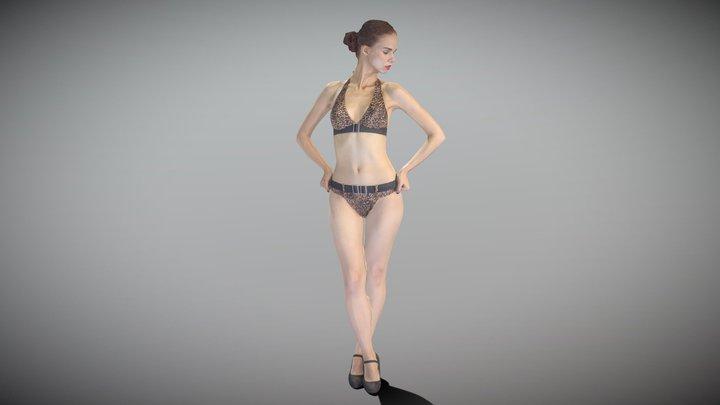 Slim woman in a swimsuit posing 158 3D Model