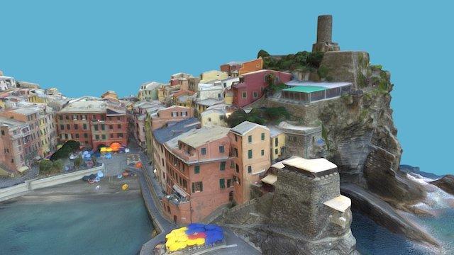 v4 HQ DETAIL: Fishing Village on Italian Riviera 3D Model