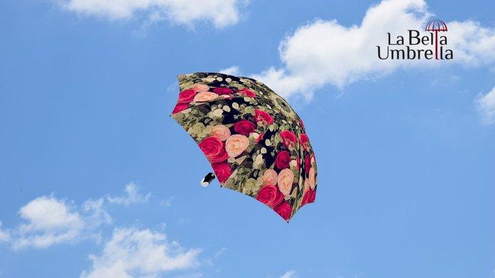 Vintage Roses Umbrella - Automatic 3D Model
