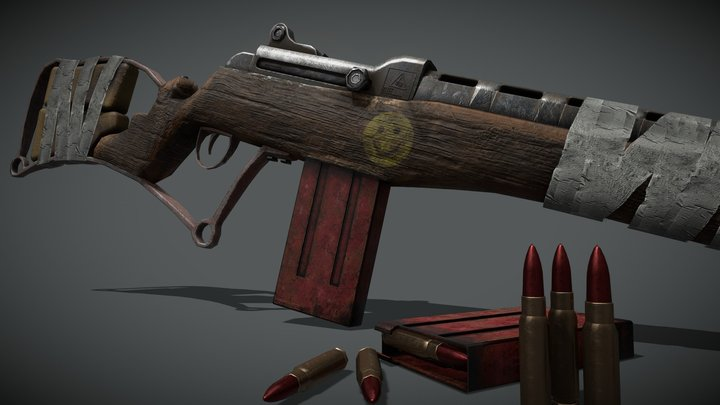 Post-Apocalyptic Scrap Gun 3D Model