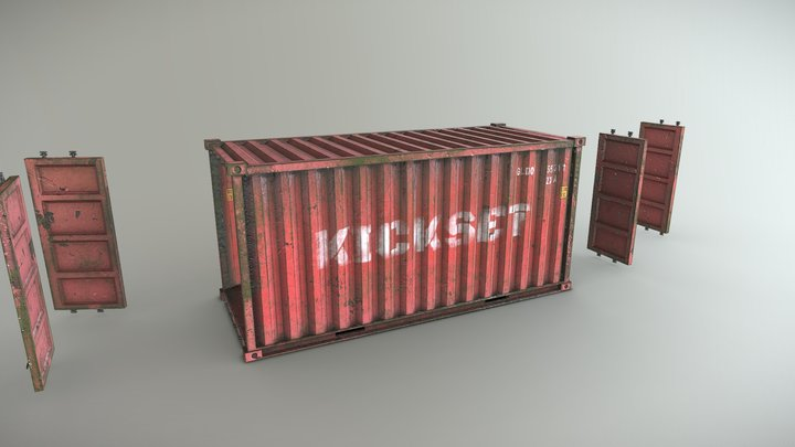 Red Container 3D Model