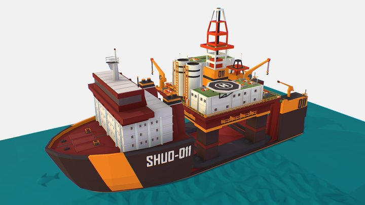 isometric Heavy Lift Vessel with Big Oil Rig 3D Model