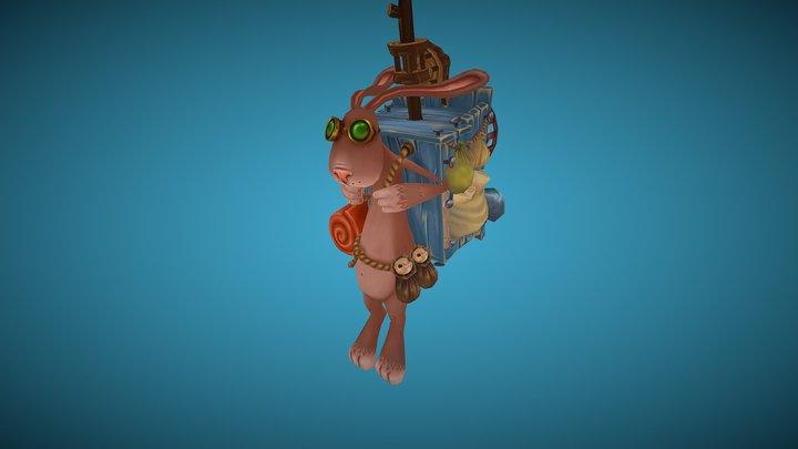 Flying Rabbit 3D Model