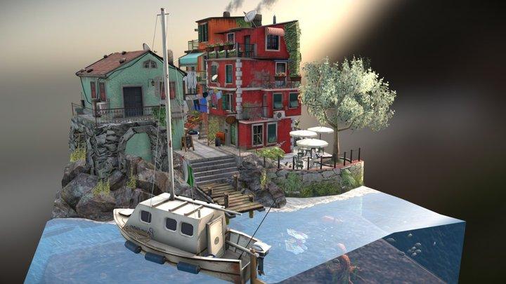 Cinque Terre City Scene 3D Model