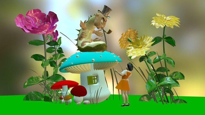 Alice and caterpillar 3D Model