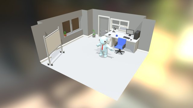 Low poly Office 3D Model