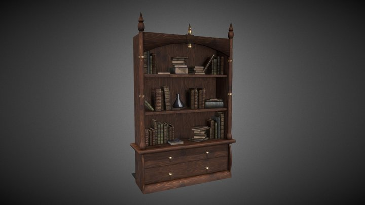 Medieval bookcase 3D Model