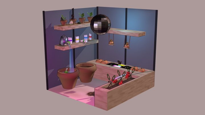 """""""Green House Music"""" Cubicle 3D Model"""
