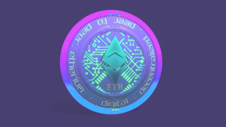 Ethereum Digital Crypto Coin 3D Model