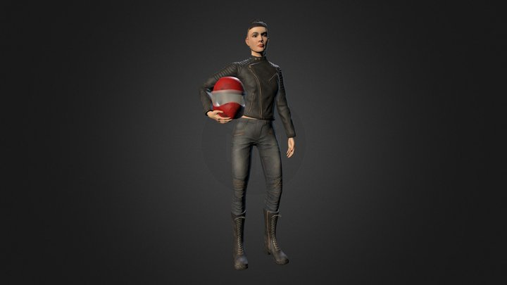 Helmeted Character 3D Model