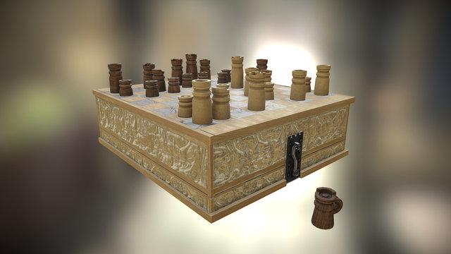 Medieval Chess set - v2 3D Model