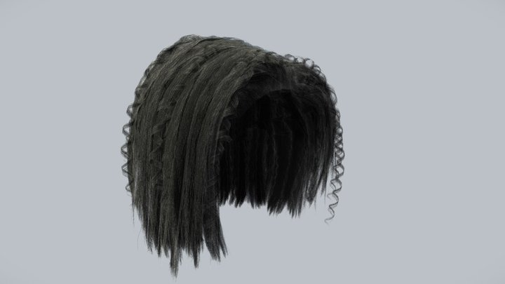 Fuzzy Hairstyle (low poly) 3D Model